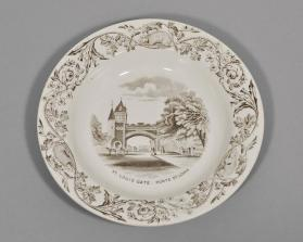"Bowl in ""Quebec"" pattern with scene ""St. Louis Gate"""