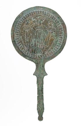 Ram's head handle mirror engraved with Castor and Pollux