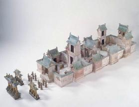 Burial model of a three-courtyard house with figures