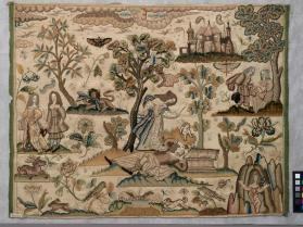 Needlework picturewith story of Pyramus and Thisbe