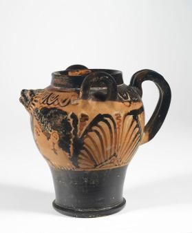 Etruscan red-figure spouted jar or lebes with two female heads
