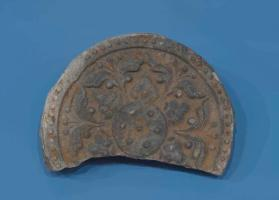 Eave-end roof tile with lotus design (fragment) 연화문수막새