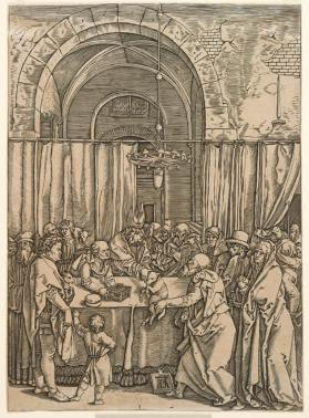 """Rejection of Joachim's Offering"", after Dürer woodcut from the ""Life of the Virgin"" series"