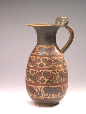 Etrusco-Corinthian black-figure olpe (jug) with animal friezes