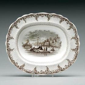 "Serving dish in ""British America"" pattern with scene  ""Brockville, St. Laurence [sic]"""