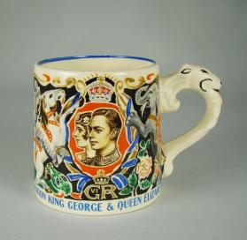 Mug commemorating the 1937 Coronation of King George and Queen Elizabeth