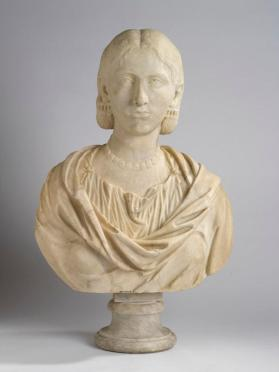 Portrait bust of a woman wearing a string of beads and earrings