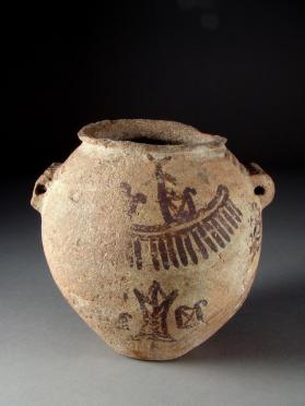 Ovoid hanging jar decorated with boat depictions