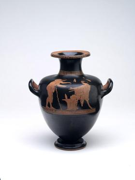 Red-figure hydria with a seated woman and a youth