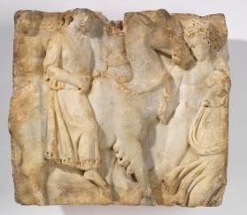 Fragment of a sarcophagus depicting the Indian triumph of Dionysus