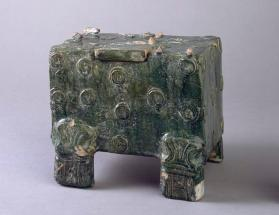 Burial model of a money box with a door