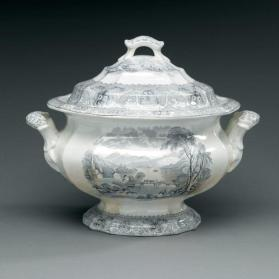 "Tureen and cover in ""Lake"" pattern with scene ""Georgeville"""