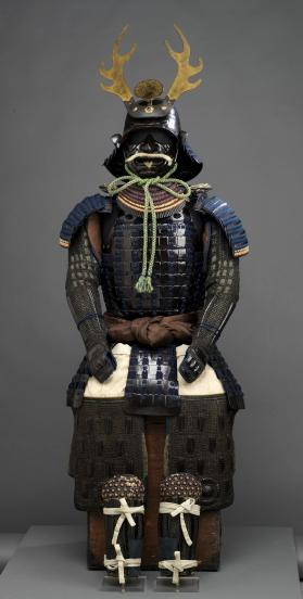 Suit of samurai armour with antler-crested helmet