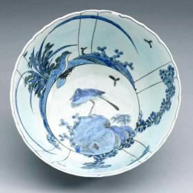 Bowl with Chinoiserie landscape, (interior: bird on rock)