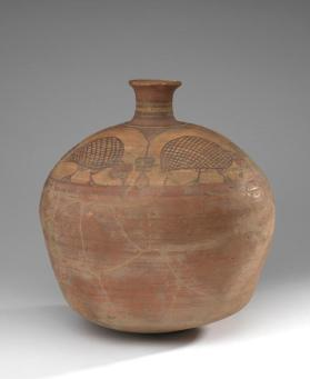Globular bottle with guinea-fowl decoration
