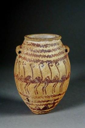 Hanging jar decorated with horizontal wavy lines and stylized bird figures