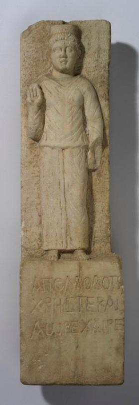 Grave stele with standing female figure