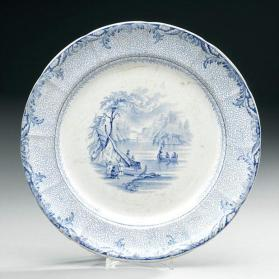 "Plate in ""British America"" pattern with ""Indian Scene on the St. Lawrence"""