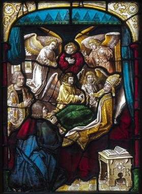 "Stained glass window, ""Death of Saint Nicholas"""