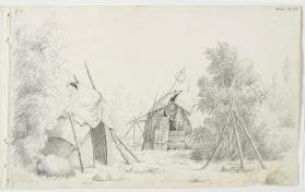 """Indian Camp Scene with Dome-shaped Lodges, a Dip Net, and Tripod over Fire,"" Chippewa/Southeastern Ojibway"