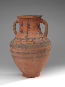 Amphora with painted  vine-leaf motifs