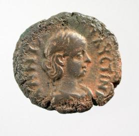 Tetradrachm with bust of Empress Annia Faustina, wife of Elagabalus