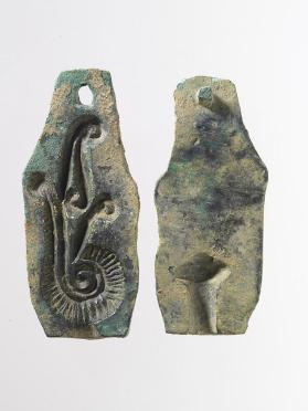 Two-part jewellery mould with stylized plume motif