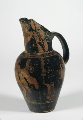 Etruscan pseudo red-figure beaked oinochoe with naked youth and owl