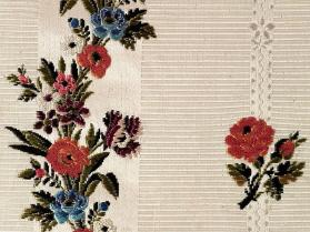Length of striped floral silk