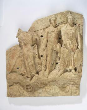 Pediment relief with winged spirit (Victory?), Hercle, and Menrva