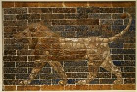 Glazed brick wall relief of lion