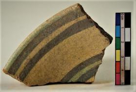 """Stars and Stripes"" ware bowl fragment (rim sherd)"