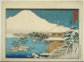 From the series 'Famous Places in the Capital': Snow Scene at the Temple of the Golden Pavilion