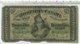 Dominion Note, 25 cent fractional currency or Shinplaster, Series B
