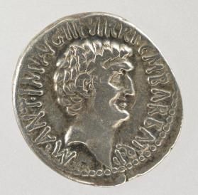 Denarius of Marcus Antonius, with head of Octavian on reverse side