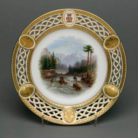 "Plate from the Lord Milton dessert service with scene ""View from the Hill Opposite Jasper House - The Upper Lake of the Athabasca River & Priest's Rock"""