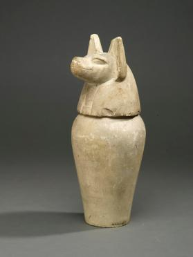 Canopic jar lid with jackal head (Duamutef)
