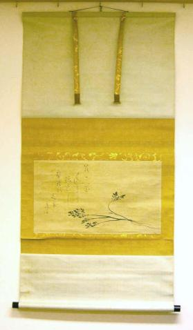 Hanging scroll painting of seri plant and waka poem calligraphy