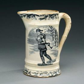 "Pitcher in ""Canadian Sports"" pattern with scenes ""Mother and Child Sleigh-Riding with Dog"" and ""Moustached Snowshoer"""