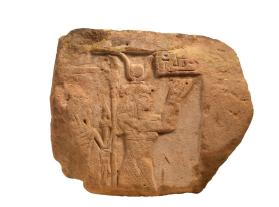 Stela fragment with goddess Wosa (Isis) and the god Khonsu