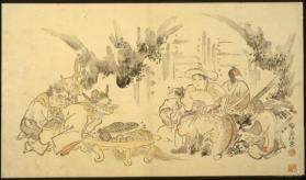 Momotaro with his 3 companions & 3 demons