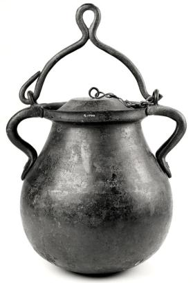 Two-handled cauldron with swing-handle and lid