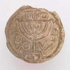 Bread stamp with menorah and cross
