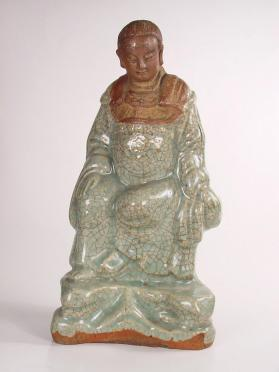 Longquan ware figure of Zhenwu, the Perfected Warrior