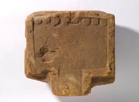Offering table with depiction of Anubis