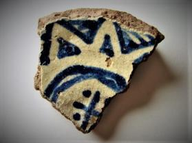 Blue and White on Red ware vessel (base sherd)