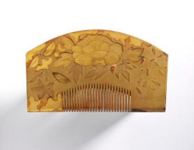 Hair comb with peony design