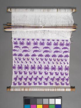 Backstrap loom with partly woven textile