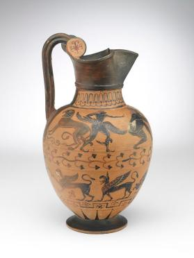 Etruscan Pontic black-figure oinochoe with revellers