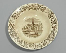 "Bowl in ""Quebec"" pattern with scene ""Wolfe & Montcalm Monument"""